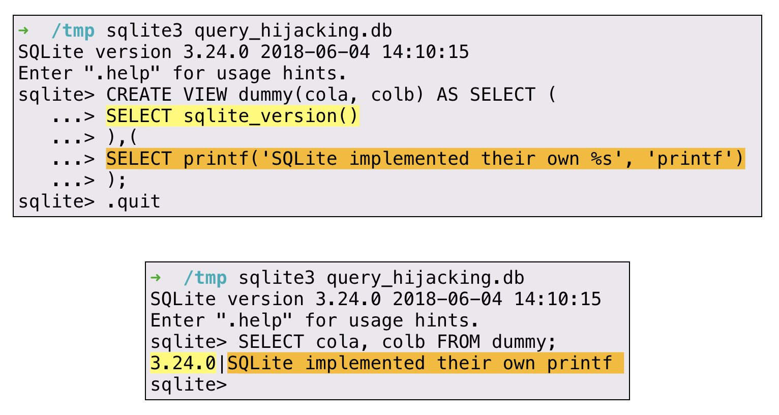 SELECT code_execution FROM * USING SQLite